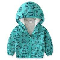 diseño de coche de niños al por mayor-Boy's Jacket Niños Chaquetas de invierno para niños Abrigos con capucha Tops Coches de impresión verde Dibujo Ropa para niños Thin 2018 Marca Design kid
