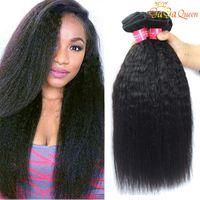 кудрявые прямые пучки волос оптовых-8А Бразильские волосы девственницы Kinky Straight 3 Связки 100% Бразильские странные прямые человеческие волосы Бразильские грубые прямые волосы Yaki