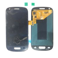 голубая закаленная стеклянная галактика оптовых-Супер AMOLED оригинальный ЖК-дисплей с сенсорным экраном дигитайзер для Samsung Galaxy S3mini i8190 i8190N синий белый с закаленным стеклом DHL логистики
