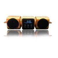 золотой mp3-плеер оптовых-Золотой цвет OEM customed мотоцикл руль bluetooth водонепроницаемый mp3 аудио музыка громкий динамик FM-радио плеер бесплатная доставка