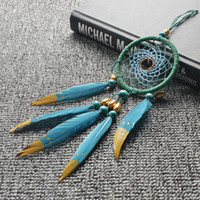 Wholesale hanging dream catcher - Diy Retro Blue Dream Catcher Hanging Ornaments With Feathers Dreamcatcher Handmade Car Pendant Trumpet Wind Chimes 7 5sl jj