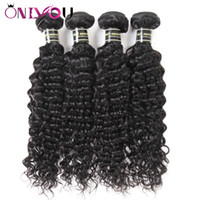 Wholesale mongolian hair factory - Onlyou Hair Products 4 Bundles Brazilian Deep Wave Virgin Human Hair Extensions Raw Indian Remy Hair Weaves Bundles Deep Wave Factory Deals