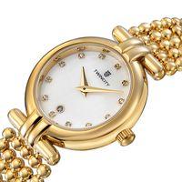 marka lüks kadın saatleri toptan satış-BRW marka yeni inci kayış elmas kabuk yüz Lüks kadın kuvars İzle kol otomatik tarih spor eğlence saatler