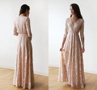 langes abendessen kleidet ärmel großhandel-Vintage Blush Pink Lace Long Sleeve Brautjungfernkleider 2018 Plus Size V-Ausschnitt In voller Länge Trauzeugin Junior Wedding Guest Dinner Gown