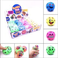 Wholesale horror ball - Funny Squishy Emoji Grape Ball Vent Mesh Ball Squeeze Decompression Children's Toys Beads Dinosaur Autism Mood Squeeze Ball LC937