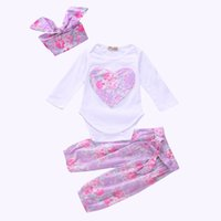 Wholesale Purple Heart Clothes - Girls Purple Heart Three-piece Clothing Sets Floral Romper Hairband Pants Baby Girls Autumn Suit 100% Cotton 0-24M