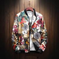 chaquetas de moda al por mayor-Otoño Casual Rose Flower Print Jacket Winter Men Six estilos de moda Floral Print Hip Hop Stand Collar Jacket Coat más el tamaño 5XL
