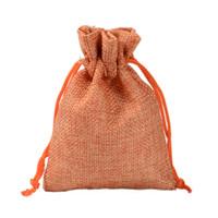 mini bolsa de regalo naranja al por mayor-7x9cm 9x12cm 10x15cm 13x18cm NARANJA Mini bolsa de yute bolsa de lino de cáñamo regalo de la joyería bolsa de lazo bolsas para favores de la boda, cuentas