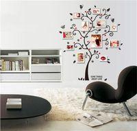 pegatinas de pared extraíbles árboles al por mayor-Durable PVC pegatinas extraíbles Happy Tree Decorate Photo Frame Walls Sticker para la decoración del hogar Wall Art Decals 2 4lk BB