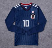 Wholesale full family - In 2018 World Cup football shirt long sleeve shirt 2018 Japanese family blue # 10 KAGAWA # 4 Honda Japan's 2018 World Cup soccer uniforms