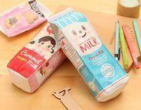 caixas de leite venda por atacado-PU Criativo Simulação Leite Caixas de Lápis Caso Kawaii Papelaria Saco Da Pena Bolsa Da Moeda Bolsa de Cosméticos saco