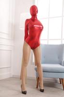 yetişkin seks kapüşonları maske toptan satış-Kırmızı BDSM Kölelik Sınırlamalar Erotik Kafa Hood Maske Seksi Catsuits Straitjacket ile Körü Körüne Fetiş Seks Oyuncakları Yetişkin Oyunu