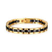 männer schwarzes wolfram keramik armband großhandel-Beeindruckende zweifarbige Wolfram-, Keramik-Magnete Link Armband für Männer (Gold, Schwarz)
