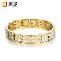 Wholesale bracelet energy cuff - Men s Women Energy Magnetic Cuff Bracelets gold color New designs Health Care Bracelets Pulseiras Jewelry