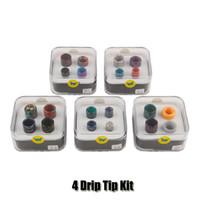 resinas para bebês venda por atacado-Aleader 4 Drip Tip Kit 510 810 Cobra Ultem Resina E Cigarro Bocal Com Caixa De Acrílico Para TFV8 Bebê TFV12 Príncipe tanque