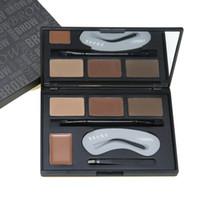 maquillaje de halo negro al por mayor-4 colores de maquillaje de cejas en forma de paleta de crema en polvo con doble punta cepillo de cejas clase pinzas kit de maquillaje estuche magnético