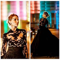 Wholesale online training resale online - 2018 Formal Black Lace Evening Dresses Sheer Long Sleeves Lace Appliqued Court Train Long Special Occasion Party Gowns Custom Online