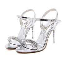 Wholesale Sliver High Heels - Summer Women Sliver Wedding Sandals Diamond 2017 Sexy High Thin Heels Shoes Brand Design Solid Ankle Strap Red Ladies Sandals