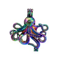 Wholesale octopus slide - 10pcs lot Rainbow Color Octopus Pearl Beads Cage Locket Pendant Diffuser Aromatherapy Perfume Essential Oils Diffuser Floating Pom
