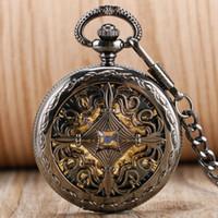 içi boş saatler kendinden sargı toptan satış-Antik Tasarım Hollow Çince Düğüm Kolye Öz Sarma Fob İzle Romen Rakamları Otomatik Mekanik Cep İzle
