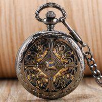 hohle uhren selbstaufzug großhandel-Antiker Entwurfs-hohler chinesischer Knoten-Anhänger-selbstaufziehende Taschenuhr-Uhr-römische Ziffern-automatische mechanische Taschen-Uhr