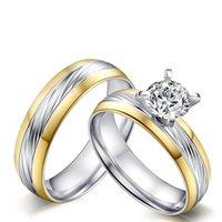 anel do amante do menino venda por atacado-6mm de Prata Cor de Ouro Moda Simples Amante de Gemstone Zircon Anel Anéis de Aço Inoxidável Jóias Presente para Meninos Meninas J048