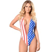 ingrosso bikini sexy bandiera americana-Sexy bikini brasiliano femminile Sexy profondo scollo a V bandiera americana stampa Bold cutaway Thong perizoma Bikini Tuta