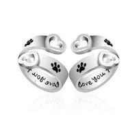 en iyi parmak takı toptan satış-Köpek Paw Baskı seni sonsuza kadar seveceğim Kalp Aşk Yüzük Ayarlanabilir Parmak yüzük Kadınlar için En Iyi Arkadaş Pet Takı