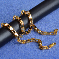 collar de cadena de oro 18kgp al por mayor-Mujer Hombre 20 PULGADAS Collares de Cadena Colar de Ouro Caja Cuadrada Cadena de color oro Collar Llamativo 18kgp Joyería de Moda 4mm