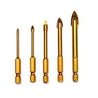 bits 4mm venda por atacado-5 pcs 3mm 4mm 6mm 8mm 10mm Hex Shank Triângulo Cabeça Brocas Set para Cerâmica Porcelana Telha De Vidro De Mármore