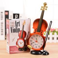 ingrosso strumenti di simulazione-Simulazione Violino Sveglia Originalità Strumenti Modellazione Soggiorno Ornamento in plastica Studente Scrivania Orologi 5 3g gg