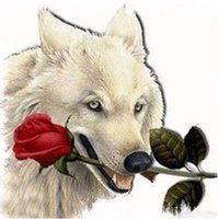 Wholesale wolf landscape paintings resale online - Full square round Drill D DIY Diamond Painting quot Wolf biting rose quot handmade D Embroidery arts Cross Stitch Mosaic Decor gift