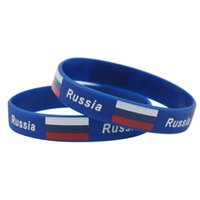 Wholesale Silicone Bracelet Id - Russia World Cup Football Wristband Hologram Flag Sport Bracelet Power ID Silicone Wrist Strap Bangle Gift Souvenir 2018