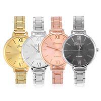 женщины смотрят большие циферблаты оптовых-4colors женщины девушки аналоговые круглые Кварцевые наручные часы большой циферблат сплава группа дамы циферблат наручные часы
