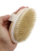fırça spa banyosu toptan satış-Kuru Cilt Vücut Yumuşak Doğal Kıl Fırça Ahşap Banyo Duş Kıl Fırça SPA Vücut Fırça Kolu olmadan