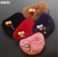 ingrosso animal fur purse-Monsisy Faux Fur Ball Girl Portamonete Portafoglio bambino Borsa piccola borsa bambino borsa portamonete portamonete porta monete