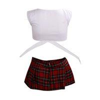 escuela de uniforme sexy japonesa al por mayor-2018 White with Red School lencería sexy Juego uniforme Estudiante japonés kimono girls Maid Costumes erótica pijama de ropa Encanto