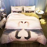 Wholesale swan bedding set king for sale - Group buy Romantic d Swan Bedding Set Twin Queen King Size Duvet Cover Set Bed Sheets Pillowcase Home Textiles Gift for Her