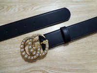 Wholesale pearls waist belts - Pearl Shiny Buckle Women Style Fashion Leather Belts Unique Design Lady Luxury Waist Strap High Quality Genuine Leather Girdle Hipster Belts