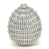 серебряные свадебные сумки оптовых-Jeweled clutch Wedding Bridal purse  silver A/B Diamond Evening Bags Lady Day clutch Women Crystal Party Bags (88632E)