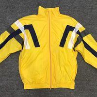 gelber sportmantel für männer großhandel-Frau Männer Streifen Sportjacke Casual Yellow Slip Schulter Frühling Paare Mantel frei