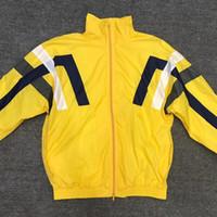 casaco esportivo amarelo para homens venda por atacado-Ms. Men Stripe Jaqueta Esportiva Casuais Amarelo Casaco Primavera Casaco Ombro Livre