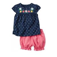 Wholesale polka dot t shirt infant resale online - Baby Girl Clothes Set Floral Cotton Children T Shirt Short Pants Newborn Tee Shirts Clothing Suit Outfits Infant Jumpsuits Polka Dot Sets