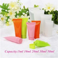 Wholesale frost container online - 5ml ml ml ml ml Soft Refillable Plastic Lotion Tubes Squeeze Cosmetic Packaging Cream Tube Screw Lids Bottle Container