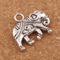 Wholesale Thai Silver Jewelry Wholesale - Royal Thai Elephant Spacer Charm Beads 90pcs lot 21x17mm Antique Silver Pendants Alloy Handmade Jewelry DIY L1183