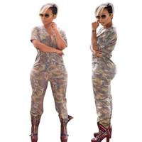 Wholesale jumpsuits longo - Hot Style Women Jumpsuit Loose Camouflage Print Rompers Women Jumpsuit Full Length Macacao Feminino Longo