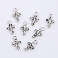 бриллиантовые подвески оптовых-DIY части крест Алмаз вставить ожерелье мини мотается яркий дрель одноместный Earbob кулон серьги Белый мода 0 35qc bb