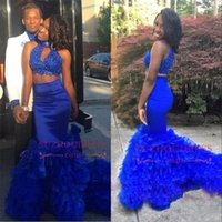 Wholesale Photo Cropping - Stunning Royal Blue High Neck Two Pieces Prom Dresses 2018 Couple African Tired Skirts Cascading Ruffles Beaded Crop Top Evening Gown BA8110