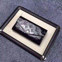 siyah deri zarf debriyajı toptan satış-Sarah Zarf Cüzdan M90292 Vernis Kabartmalı Deri Cüzdan Siyah OKSİDDEN DERI CLUTCHES UZUN ZİNCİRLİ WALLETS KOMPAKT PURSE