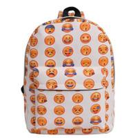 Wholesale smiley lights - Boys Casual Emoji Face Printing Mochila Escolar Smiley Pattern School Bags For Teenagers Girls Smiling Custom Backpack Bookbags